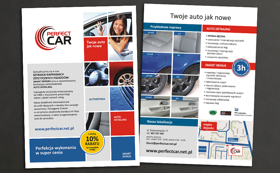 Projekt ulotki reklamowej dla Perfect Car
