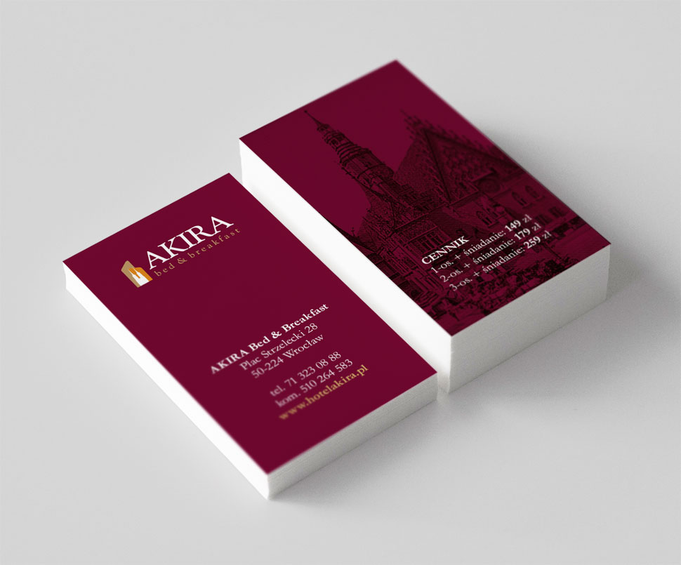 Projekt wizytówki dla Hotelu Akira