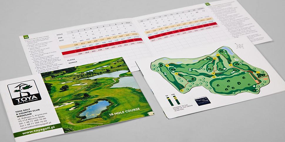 Score Cards - projekt dla pola golfowego Toya Golf
