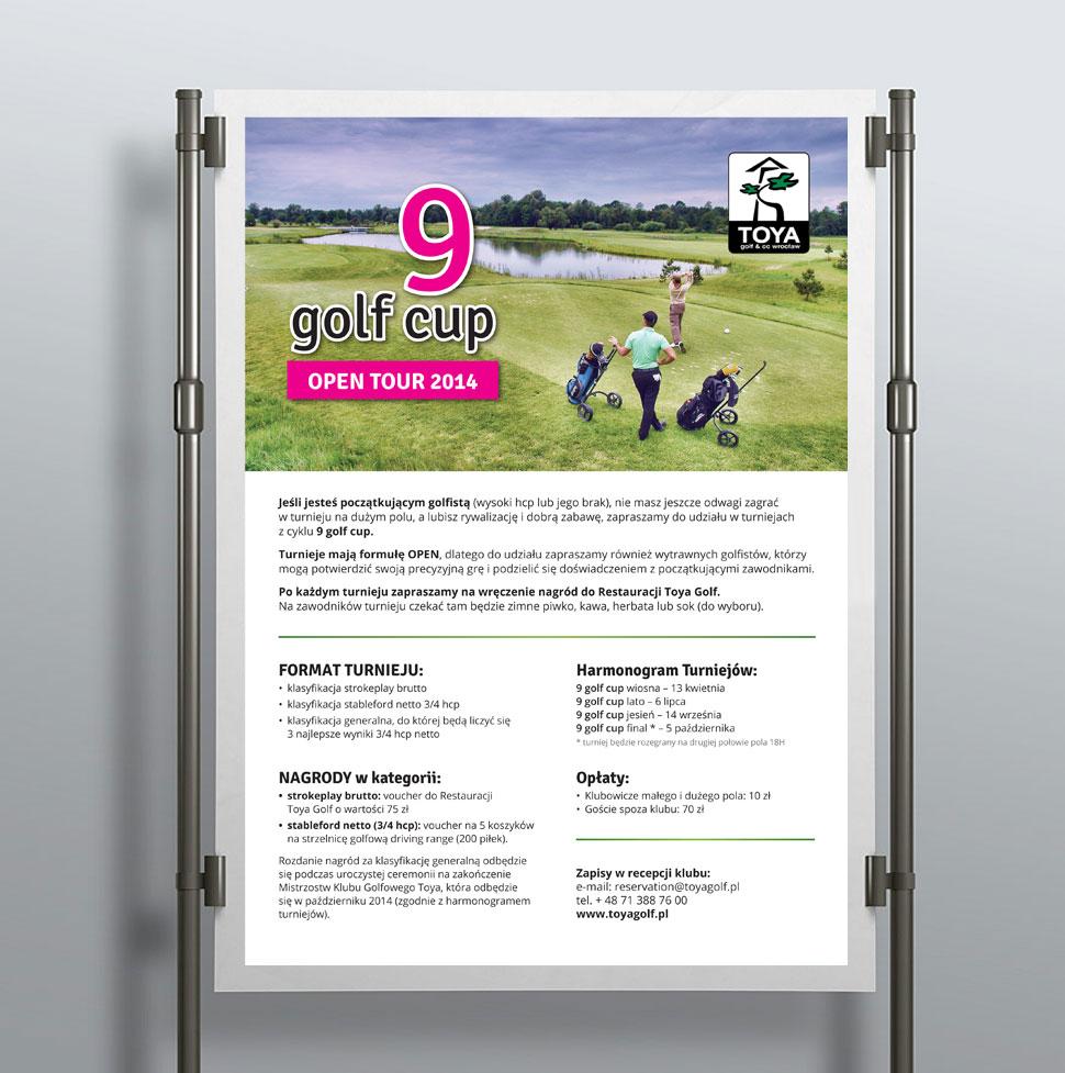 Plakat turniejowy dla pola golfowego.