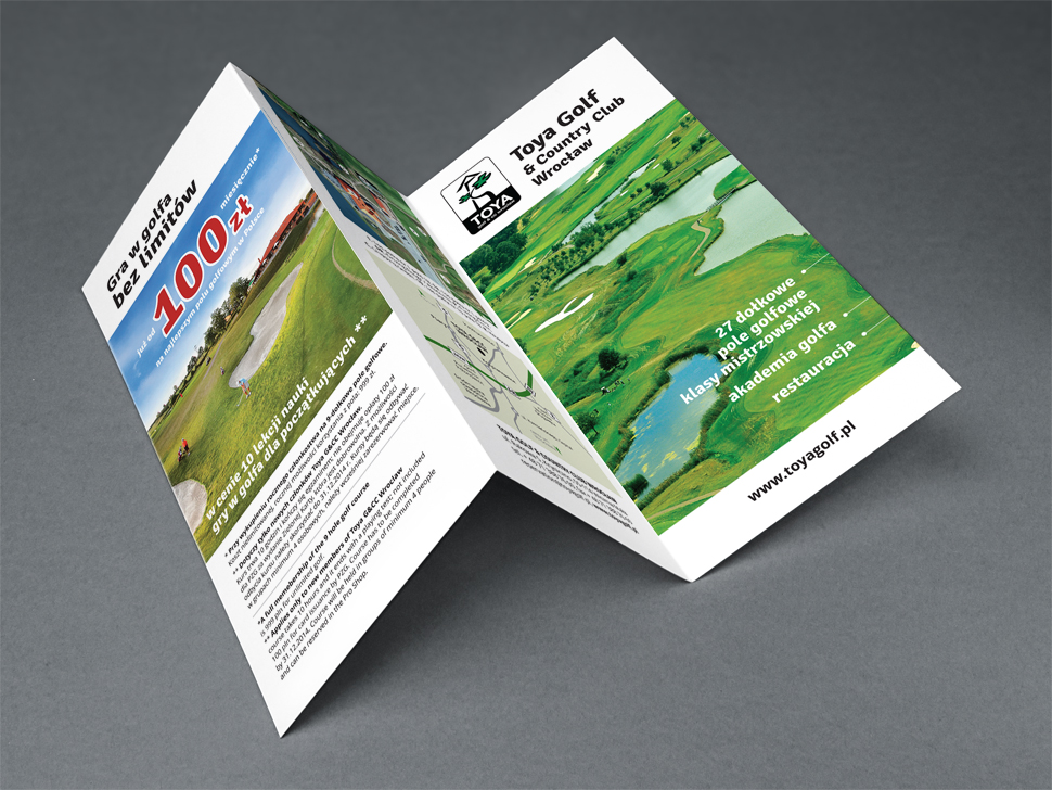 Ulotka reklamowa pola golfowego i Toya Golf