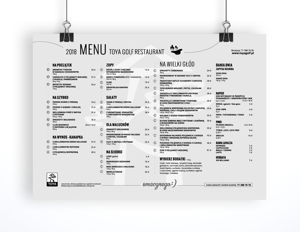 Projekt i przygotowanie do druku menu