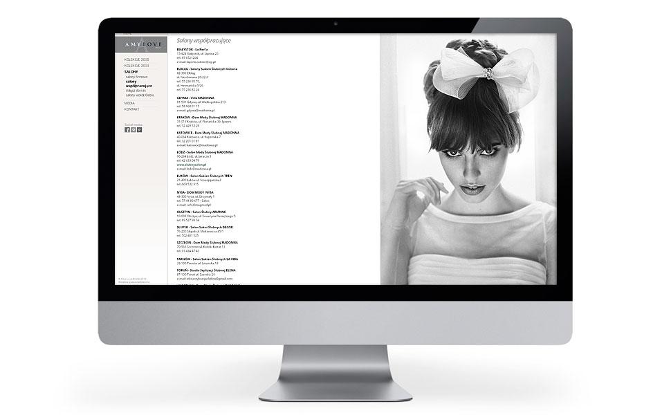 Layout strony internetowej dla Amy Love