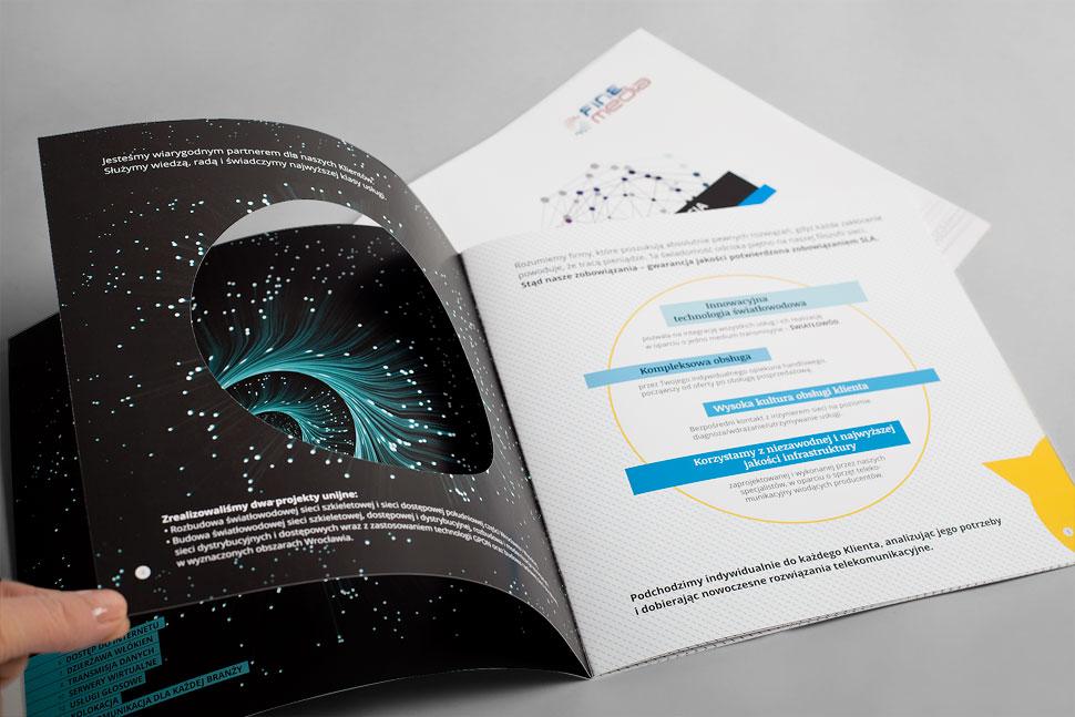 Folder wizerunkowy dla firmy telekomunikacyjnej Finemedia
