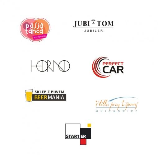 Zbiór przykładowych logotypów zaprojektowanych przez Agencję Reklamową Aura