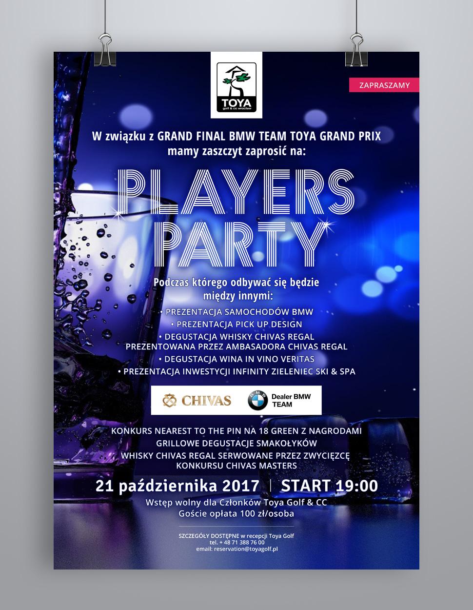 Projekt plakatu na wydarzenie golf party