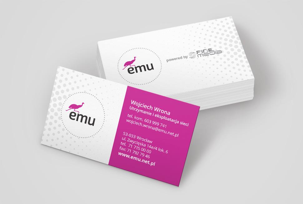 Projekt wizytówek dla firmy Emu