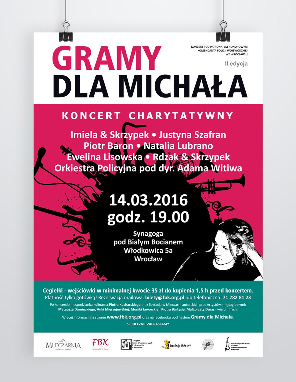 Projekt plakatu na koncert charytatywny Gramy dla Michała